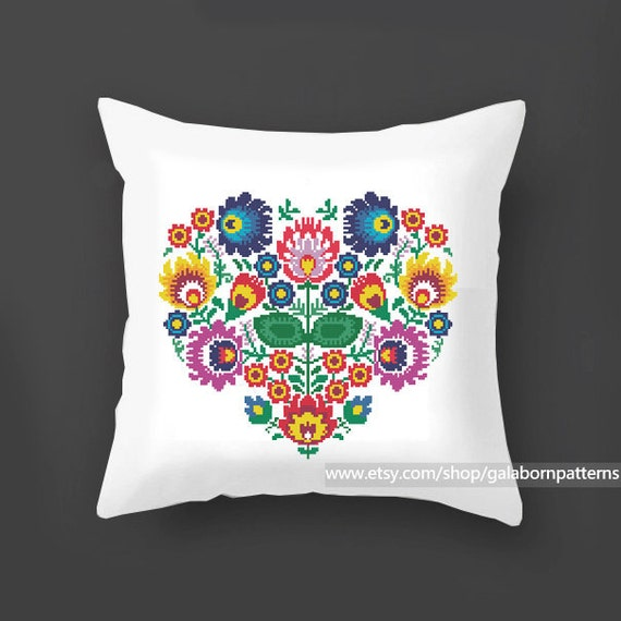 Modern Cross Stitch Pillow : Flowers cross stitch pattern PDF, Pillow cross stitch, Polish, Modern cross stitch, Floral ...