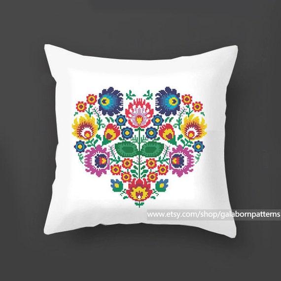Flowers cross stitch pattern PDF, Pillow cross stitch, Polish, Modern cross stitch, Floral ...