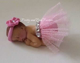 Pink Floral Headband and Tutu Fondant Baby Cake Topper