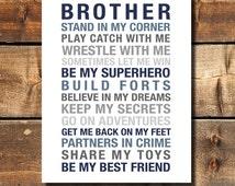 Brothers Wall Art Printable Boys Room Decor Print Big Brother Gift Brothers Printable Big Brother Gift INSTANT DOWNLOAD PRINTABLE
