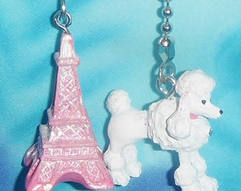 Set of Two - Pink Glittery Eiffel Tower & French Poodle Paris France - Ceiling Fan Pulls