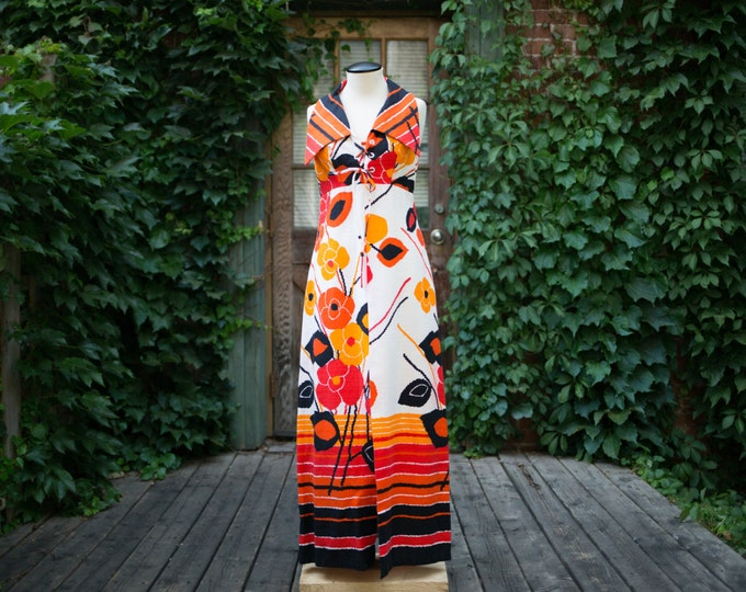 Vintage White, Orange, Red and Black Floral Maxi Dress with Hawaiian Flower Pattern / Tropical Inspired / Honolulu / Dilophosaurus Collar