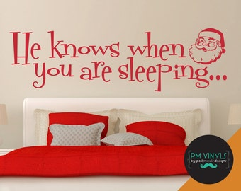 He Knows When You Are Sleeping Santa Christmas Holiday Wall Decal Quote - HOL003