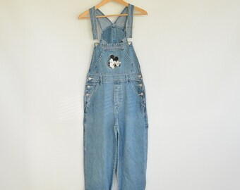 Denim Bib Overalls 90's Mickey Unlimited Disney Size Small Mickey Mouse Denim Dungarees Unisex no Working Fly