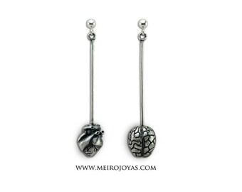 Brain & Heart Long Earrings Sterling Silver / Cerebro y Corazon Pendientes Plata 925