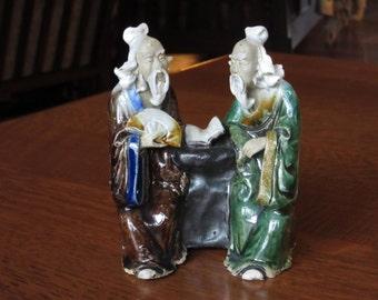 "Two Vintage Chinese Mudmen Conversing, Double Mudman, Mud Man, Men, Pair, Group, 5-1/2"" Figurine, Book, Fan, Asian Decor, Art, Double Mudman"