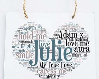 Personalised Love Word Art Wooden Hanging Plaque - True Love