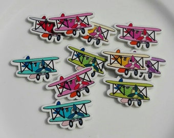 10 Wooden buttons Shaped of Plane - Airplane in color mixed 32x19mm