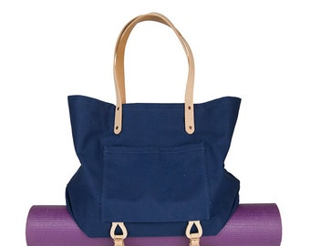 Canvas Tote w/ Carrier Straps (Navy)