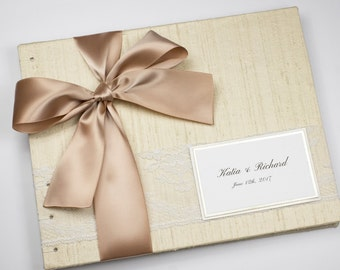 Wedding Guest Book, Cream and Beige, Taupe Wedding, Neutral Guest Book, Light Brown, Cream and Brown, Elegant Guest Book, MADE UPON ORDER