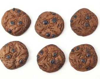 6 pcs Resin Realistic Chocolate chip Cookies  Flatbacks Cabochons AZ337