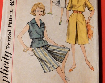 Simplicity 3866 Vintage culottes and blouse pattern Size 14