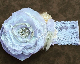 White and ivory singed flower, christening headband, baptism headband