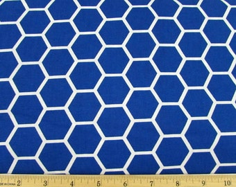 Hexagon  Royal Blue Fabric By the Yard