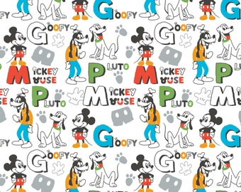 Disney FLEECE  Mickey Goofy Pluto Fabric From Camelot By the Yard