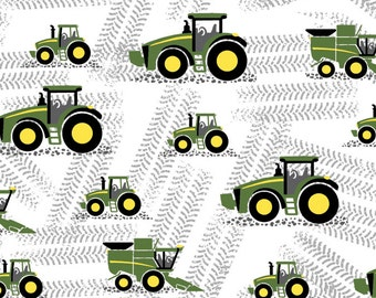John Deere Little Farm Tractor White Fabric From Springs Creative