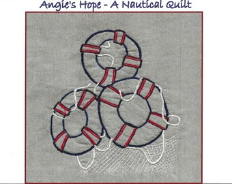 Life Preservers Hand Embroidery Pattern - Angie's Hope A Nautical Quilt - by Beth Ritter - Instant Digital Download