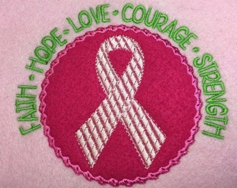Awareness Ribbon Applique - Faith Hope Love Courage Strength -3 Designs Included - Embroidery Design -   DIGITAL Embroidery DESIGN