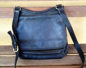 Fossil Crossbody Bag, Black Fossil Leather Handbag, Distressed Leather Handbag, Fossil Shoulder Bag, Black Leather Handbag, Fossil Handbag