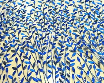 1 Yard Royal Blue Lace Fabric, Sequin Lace Fabric,Wedding Dress Fabric,Summer Dress,Bridal Dress Lace,Last 2 Yards of Royal Blue,On Sale
