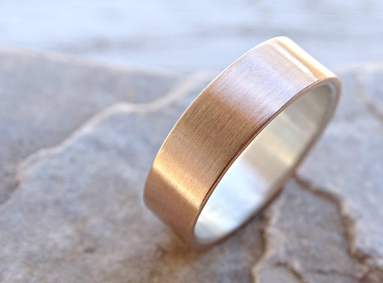 mens wedding band bronze wedding ring mens ring silver