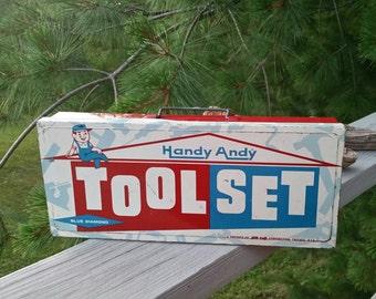 Handy Andy Tool Set Blue Diamond Metal Box