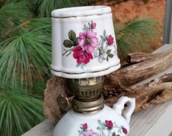 White & Floral Finger Loop Oil Lamp Vintage Home Decor