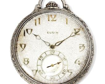 Vintage Art Deco Elgin Corsican Model Pocket Watch 14kt Gold Grade 450 12s 21 Jewel