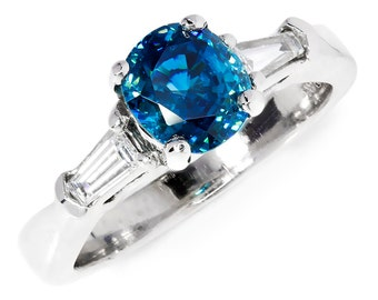 Blue Zircon 3 Ston Ring with Tapered Baguette's 14K White Gold 1.60ctw