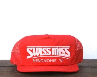 Vintage Swiss Miss Hot Chocolate Cocoa Menomonie Wisconsin Trucker Hat Snapback Baseball Cap