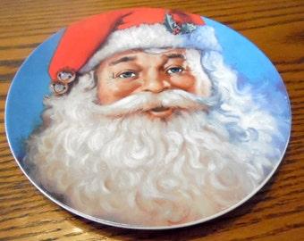 "Vintage Santa plate by Michael Jarezko.  Traditional Santa, Christmas. holiday plate, Christmas dinnerware, Cookie -plate 8"""