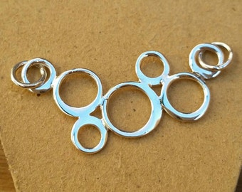 Bubble Pendant, Sterling Silver Bubble Circle Link Pendant, Silver Link, Jewelry Connector, Sterling Silver Circle Link, Diy Jewelry Making