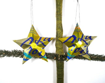 La Croix Lemon Sparkling Water Soda Can Aluminum Stars - 2 Hand Made Recycled Christmas Ornaments or Gift Toppers For Mom