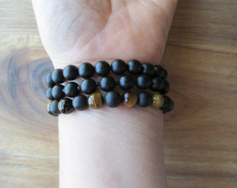 Bracelet Set Tigereye and Matte Black Onyx, Stacking Bracelets, Men's Bracelet, Mala Bracelet, Layering Bracelet, Beaded Bracelets