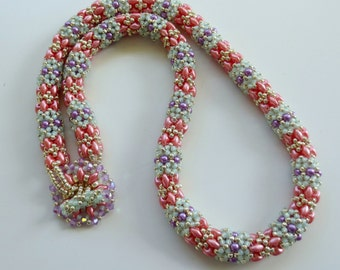 Beautiful Beaded Rope Necklace in Spring/Summer Colours