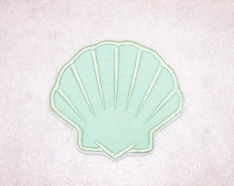 Mint Green Sea Shell Clam Shell Iron on No Sew Embroidered Patch Applique