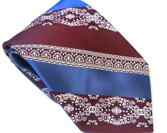 "Vintage Tie,Hughes & Hatcher Tie,Retro 70s Tie,56.5"" x 4"" Wide Tie,Vintage Tie,Blue and Red Necktie,Hipster Tie,Retro Accessories,Disco Tie"