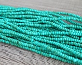 2-3mm Turquoise Coconut Shell Pucalet Rondelle Beads Dyed and Waxed 15 inch strand