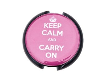 Keep Calm and Carry On Stethoscope ID tag, Name Tag, ID Tag-Pink
