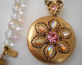 SALE 1928 Jewelry 31 Inch Long Clear Crystal Gold Locket Necklace...1928 Jewelry Signed Long Crystal Necklace Gold Rhinestone Locket..RARE!