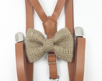 FREE DOMESTIC SHIPPING! Skinny 1/2 inch light brown faux leather suspenders and burlap bow tie wedding pictures birthday formal