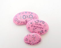 Hand Painted River Stones, Inspirational Painted River Stones, Pink Painted River Stones, Rock Art, Painted Garden Rock Decor - ADMIRE