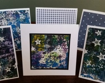"""Set of 8 Mini Note Cards; 3"""" x 3"""" Cards; Stationery Set; Gift Enclosures; Shades of Blue"""