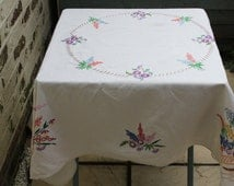 Embroided Tablecloth. Floral Design on Linen Tea Table Beauty. c1950s.  Authentic Vintage  Mid Century Modern