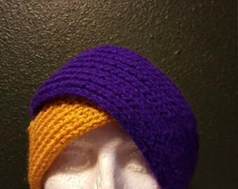 Knit split headwrap (gold/royal), headwrap, ear warmer, winter headwrap