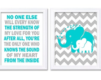 Elephant Nursery Art Set of 2 Prints Turquoise Blue Grey No One Else Will Every Know Nursery Wall Decor Children Kids Room Baby Wall Art