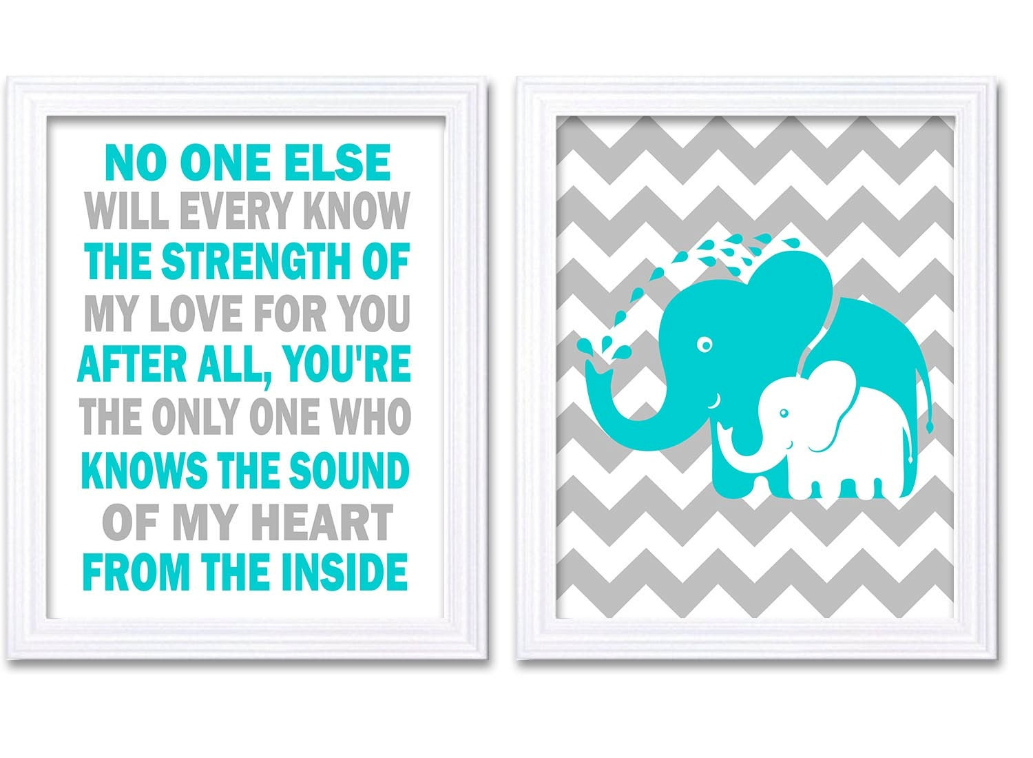 Elephant Nursery Art Set of 2 Prints Turquoise Blue Grey No One Else Will Every Know Nursery Wall De
