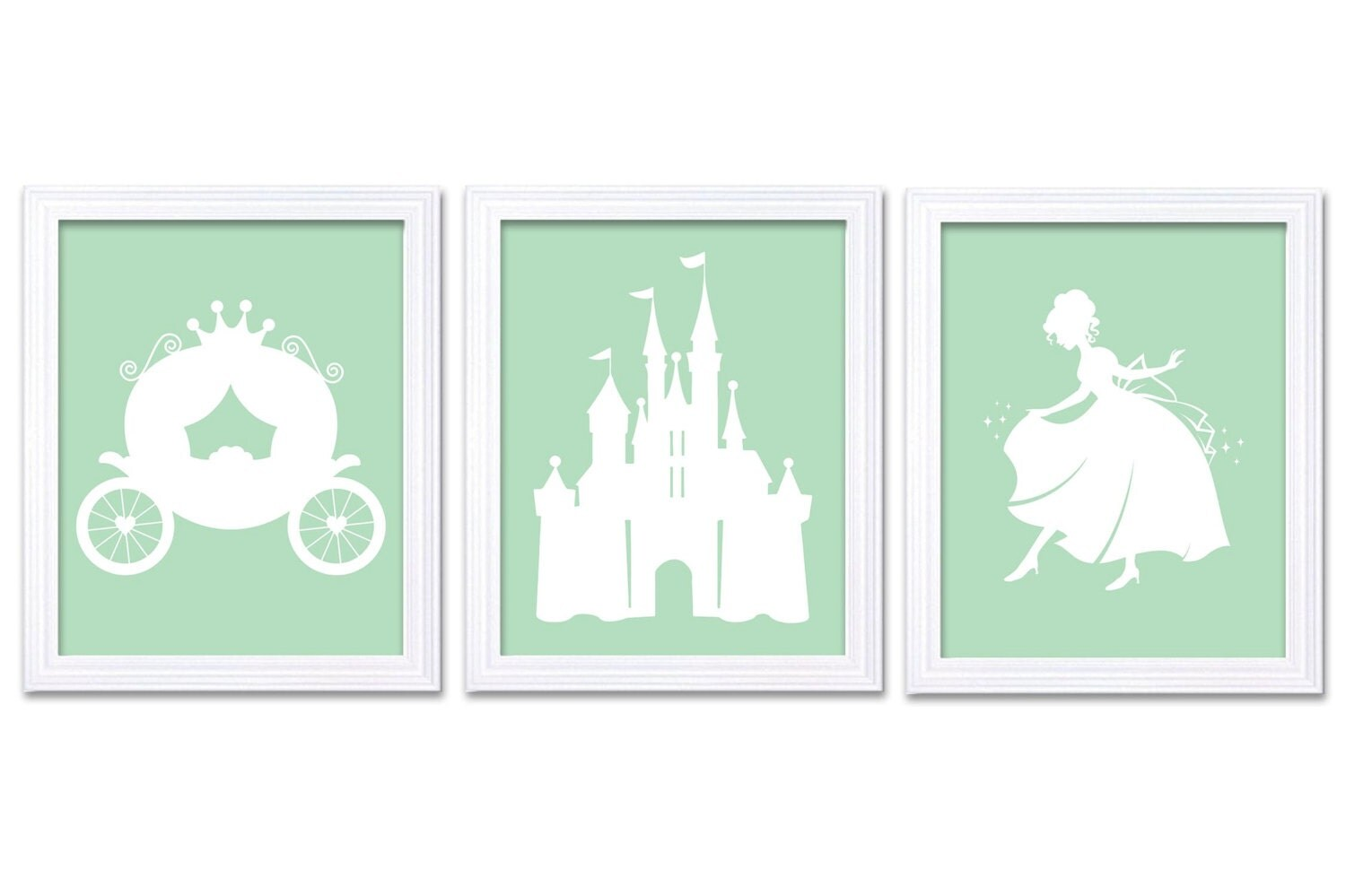 Mint Green White Princess Nursery Art Set of 3 Prints Child Art Kids Room Wall Art Baby Girl Decor B