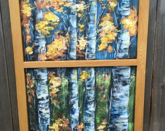Vintage house screen shabbied and Aspens  tree on window screen,old window frame,indoor and outdoor art,Aspens trees,yellow