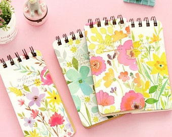 1 PC OF Korean Floral Pocket Study Papers Planner Mini Line Notebook Diary Hard Cover